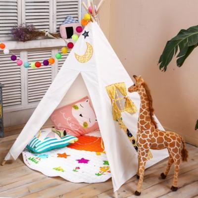 LoveTree 5-Pole Kids Teepee Play House Tent Embroidery Elephant & Giraffe, White