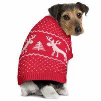 Christmas Nordic Dog Sweater with Reindeer, Tree, Hearts, Medium