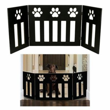 Pet or Dog Gate Free Standing 48 inch Wide 19 inch Tall Three Panel Wooden Paw Accent Décor