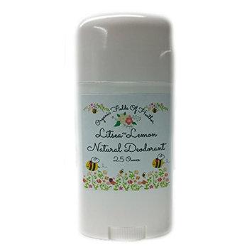Organic Fields of Heather Litsea Lemon Organic & Natural Deodorant With Botanically Infused Ingredients, 2.5 fl. Oz