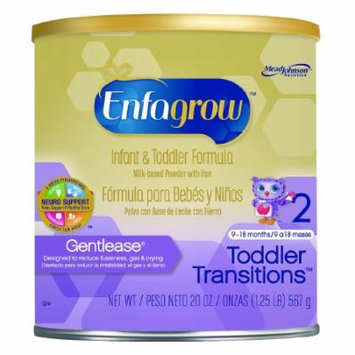 Enfagrow Toddler Transitions Gentlease Pediatric Oral Supplement Unflavored 20 oz. Can Powder - Case of 4