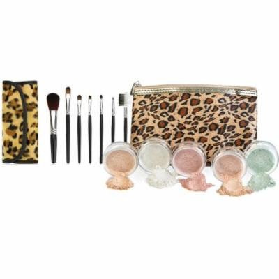 LEOPARD KIT w/ BRUSH BAG SET Mineral Makeup Bare Face Sheer Powder Matte Foundation Cover by Sweet Face Minerals (Deep Tan)