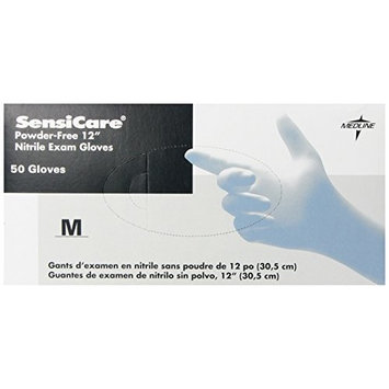 Medline Sensicare Non-Sterile Powder-Free Latex-Free 12 Inches Nitrile Exam Gloves, Blue, Medium, 50 Count [Medium, 50]