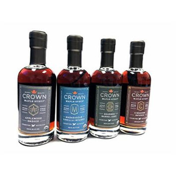 Crown Maple Organic Grade A Maple Syrup, 4 Pack Combo Applewood Smoke, Madagascar, Bourbon Barrel Aged, Cinnamon Infused , 8.5 Ounce, 4 Count