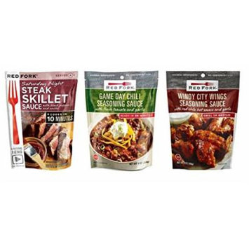 Red Fork Seasoning Sauce 3 Flavor Variety Bundle,1 each: Windy City Wings, Saturday Night Steak, Game Day Chili (7.5-8 Ounces)
