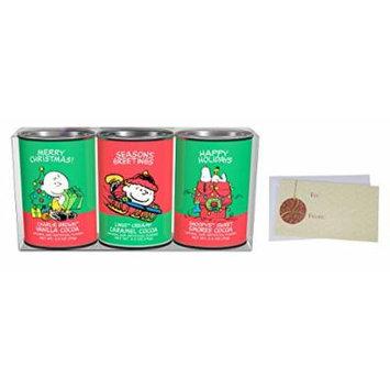Hot Chocolate Gift Set, Peanuts Christmas Holiday Cocoa Mix, Vanilla Cocoa, Creamy Caramel Cocoa, Sweet Smores Cocoa, 3 – 2.5 Oz. Oval Tins.
