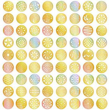 eBoot 288 Pieces 72 Designs Gold Nail Vinyls Nail Stencil Sticker Sheets Set for Circular Hollow Nail Art Design, 24 Sheets