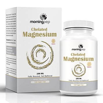 Morning Pep Magnesium Bisglycinate Chelate 120 Vegi Caps 200mg Elemental per Serving, Our fully reacted (TRAACS) Albion Magnesium Has The Highest Level of Absorption, Helps function muscles bones and the heart