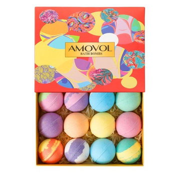 Bath Bombs Gift Set, 2.5 OZ Each Colorful Bath Bomb Kit with Essential oils, Lush Spa Floating Fizzies, Rich Bubbles, Powerful Moisturize and No Greasy, Easter Gift for Women & Kids Pack of 12
