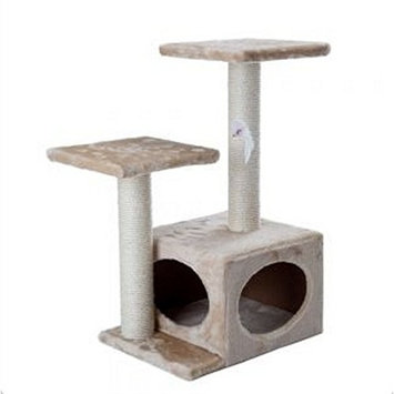 Compact Beige 2 Level Cat Tree Is A Sturdy And Perfect Activity Tree For Scratching, Playing, Hiding And Relaxing Of Small To Large Cat Breeds
