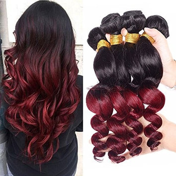 Black Rose Hair Ombre Brazilian Virgin Hair Loose Wave 4 Bundles T1B/Burgundy Black To Red Two Tone Ombre Human Hair Weaves Extensions Loose Deep Wave Hair Wefts (100g/piece,16 18 20 22inches)