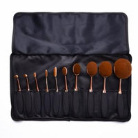 Uarter Professional Oval Makeup Brushes Set Toothbrush Cosmetic Tool for Eye and Face Cosmetics, 10 Pcs