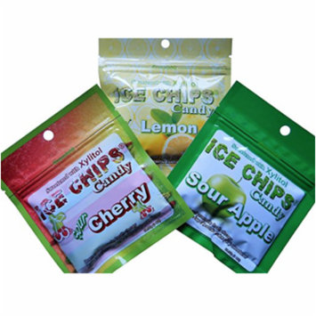 Ice Chips Candy: Sour Cherry, Sour Apple, Lemon - Sugar Free, Xylitol Sweetened