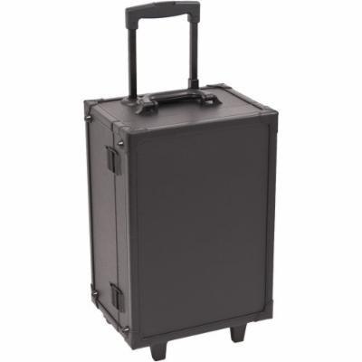 Sunrise Piscina Lighted Rolling Makeup Case Professional Nail Travel Wheel Organizer, Black Leatherette, 16 Pound