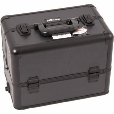 Sunrise Dona Heavy Duty Makeup Case Professional Nail Travel Organizer Box, Black Dot, 9 Pound