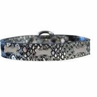 Silver Bone Widget Dragon Skin Genuine Leather Dog Collar Silver Size 22
