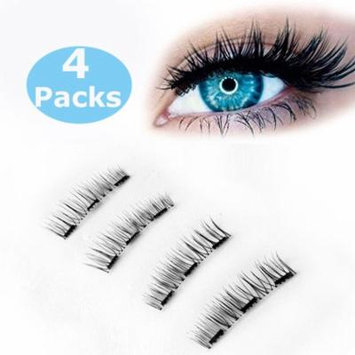 Glamorous Magnetic False Eyelashes, 4pcs 0.2mm magnetic eyelashes set Ultra Thin Fake Mink Eyelashes for women (New Triple magnets)
