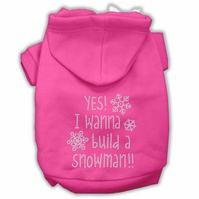 Yes! I Want To Build A Snowman Rhinestone Dog Hoodie Bright Pink Xl (16)