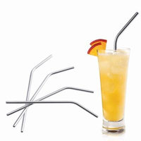 Estink Stainless Steel Drinking Straws, 4pcs Reusable Curved Straws with Free Cleaning Brush Included