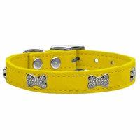 Crystal Bone Genuine Leather Dog Collar Yellow 12