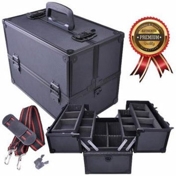 Koval Inc. Makeup Train Case, Large Aluminum Cosmetics Makeup Organizer Storage Train Case w/ Key Lock & Drawer (Make-up Organizer)