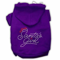 Santa's Girl Rhinestone Dog Hoodie Purple M (12)