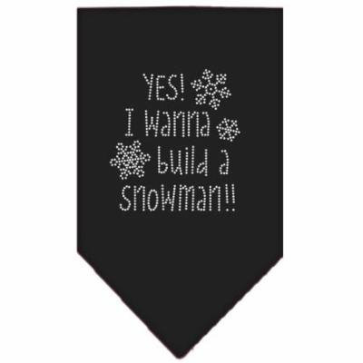 Yes! I Want To Build A Snowman Rhinestone Bandana Black Small