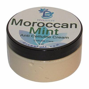 Moroccan Mint Scented Anti Cellulite Cream with Indian Ginseng, Oregano, Horsetail, Juniper Berry, Coffee, Caffeine and More,By Diva Stuff
