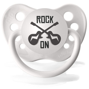 Personalized Pacifiers Rock on Guitar Pacifier in White [White]
