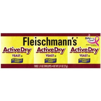 Fleischmann's Yeast Active Dry Three Count Envelopes, 3-Count Pouches (Pack of 18)