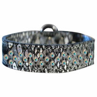Sprinkle Ab Crystal Jeweled Dragon Skin Genuine Leather Dog Collar Silver Size 18