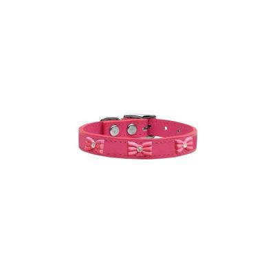 Pink Glitter Bow Widget Genuine Leather Dog Collar Pink 16