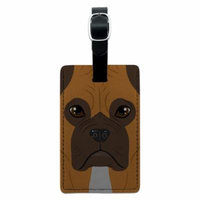 Boxer - Dog Pet Rectangle Leather Luggage ID Tag