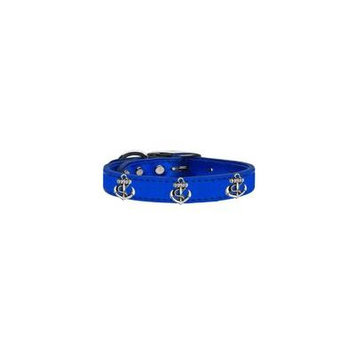 Silver Anchor Widget Genuine Metallic Leather Dog Collar Blue 16