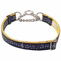 Country Brook Petz™ Sheet Music on Gold Grosgrain Ribbon Half Check Dog Collar