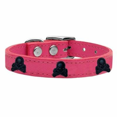 Skull Widget Genuine Leather Dog Collar Pink 16