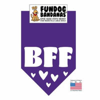 Fun Dog Bandana - BFF - One Size Fits Most for Medium to Large Dogs, purple pet scarf