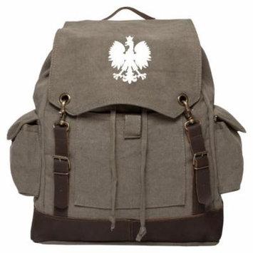 Polska Polish Poland Eagle Vintage Canvas Rucksack Backpack with Leather Straps