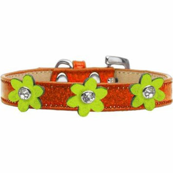 Metallic Flower Ice Cream Collar Orange With Metallic Lime Green Flowers Size 14