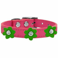 Flower Leather Collar Pink With Emerald Green Flowers Size 12