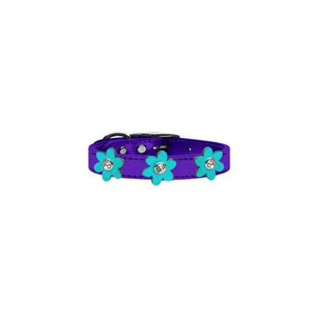 Metallic Flower Leather Collar Metallic Purple With Metallic Orange Flowers Size 14