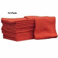 Auto-Mechanic Shop towels, Rags 100% Cotton Commercial Grade Perfect for your Home Garage & Auto Body Shop (14x14) inches, 12 Pack, (Red)