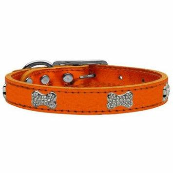 Crystal Bone Genuine Metallic Leather Dog Collar Orange 26