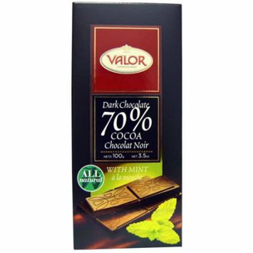 Valor, Dark Chocolate, 70% Cocoa, With Mint, 3.5 oz (pack of 4)