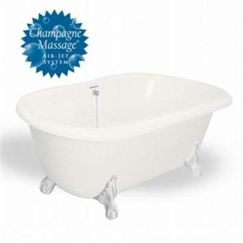 American Bath Factory T071A-WH-C-B Champagne Melinda 60 in. Bisque Acrastone Tub & Drain, White Metal Finish, Large
