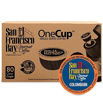 San Francisco Bay OneCup Colombian Supremo (80 Count) Single Serve Coffee Compatible with Keurig K-cup Brewers Single Serve Coffee Pods, Compatible with Keurig, Cuisinart, Bunn Single Serve Brewers