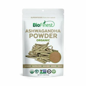 Biofinest Ashwagandha Root Powder (Indian Ginseng) - 100% Pure Freeze-Dried Antioxidant Superfood - USDA Certified Organic Kosher Vegan Raw Non-GMO - Boost Stamina - For Smoothie Beverage Blend (4 oz)