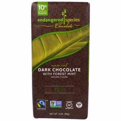 Endangered Species Chocolate, Natural Chocolate with Forest Mint, 3 oz(pack of 12)