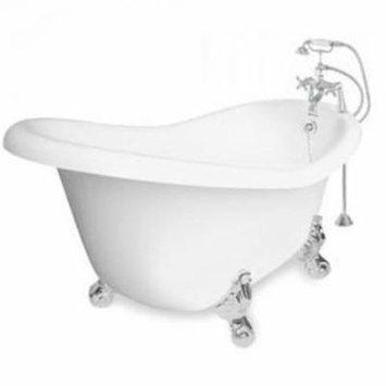 American Bath Factory T021B-CH-R Champagne Marilyn 67 in. White Acrastone Air Bath Tub, Chrome Metal Finish, Large