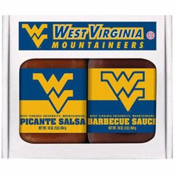 Hot Sauce Harrys 4725 West Virginia Mountaineers NCAA Double Play - 16 oz BBQ Sauce, 16 oz Picante Salsa